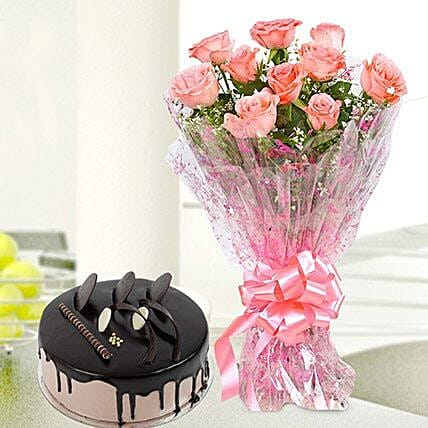Online Flower Bouquet With Cake