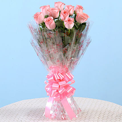 10 Charming Pink Roses Bouquet:60th Birthday Gifts