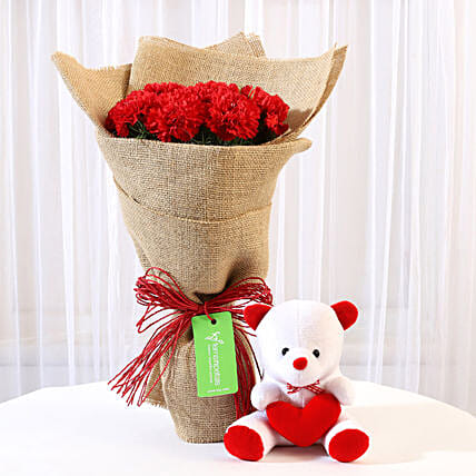 Buy Carnations and Teddy Combo