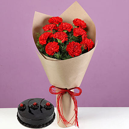 Online Flower Bouquet and Cake Combo