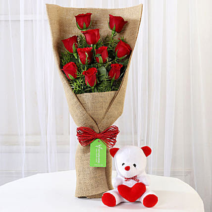 Jute Wrap Bouquet with Teddy Online