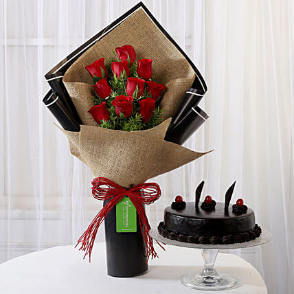 Red Roses Bouquet and Truffle Cake Online