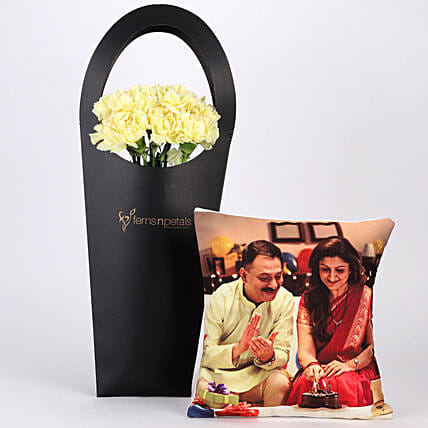 Yellow Carnations and Customise Cushion Online:Flowers N Personalised Gifts