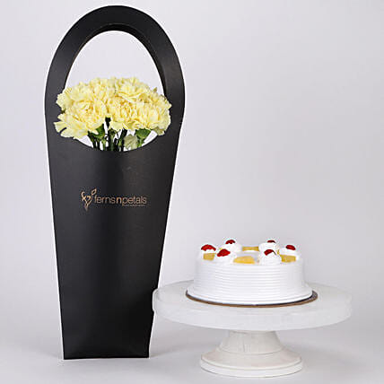 Yellow Carnations and Cake Combo Online