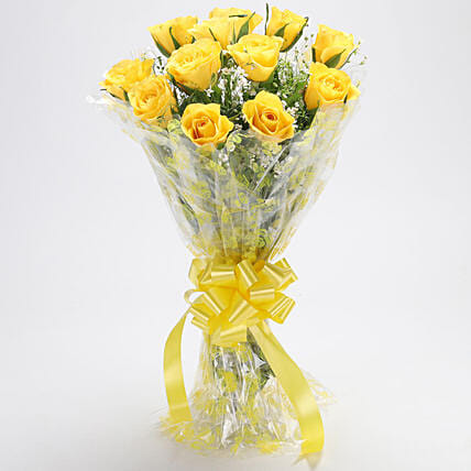 Bright Yellow Rose Bouquet
