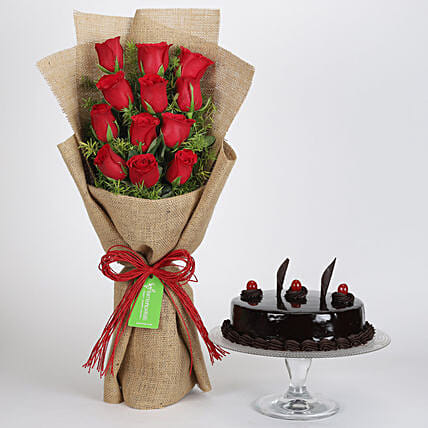 Multi Layered Red Roses with Truffle Cake Online:Flowers and Cakes Delivery in Kolkata