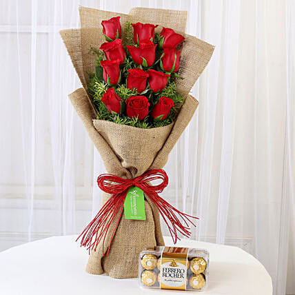 Multi Layered Red Roses Bouquet and Ferrero Rocher Combo