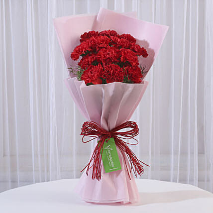 12 Red Carnations Bouquet In Pink Paper Gift Buy Carnations Flower Bouquet Ferns N Petals