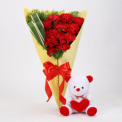 Send Red Carnations With White Teddy