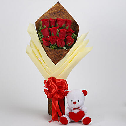 Attractive flower bouquet n teddy bear online