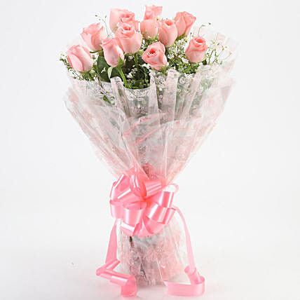 Online Pink Roses Bouquet:Bunch of Flowers