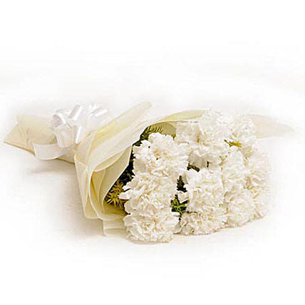 12 White Carnations - Bunch of 12 White Carnations in white paper packing.