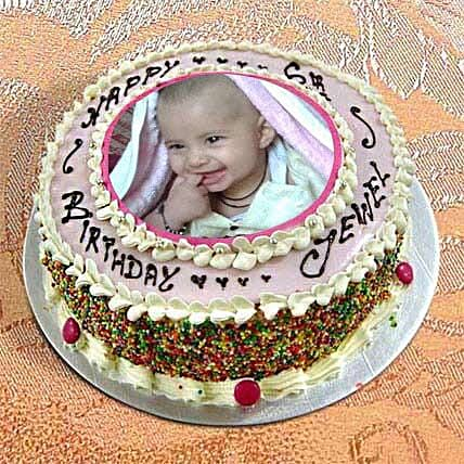 1kg Photo Cake Vanilla Sponge Eggless