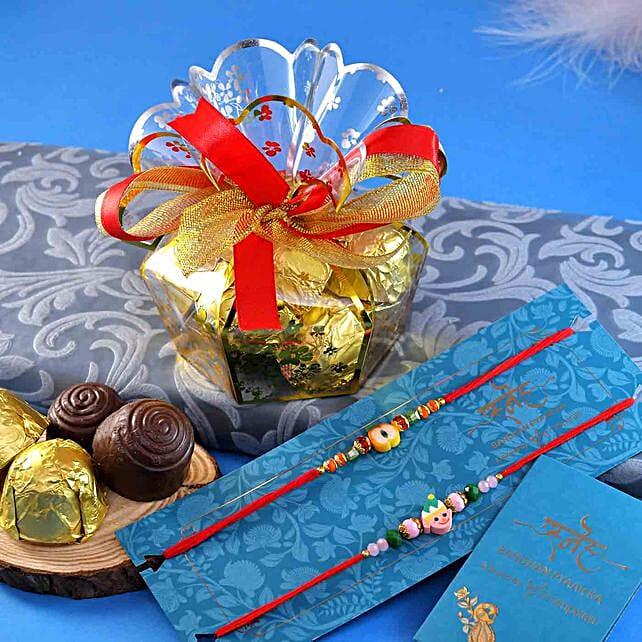 2 Funky Rakhis N Handmade Assorted Chocolate Box