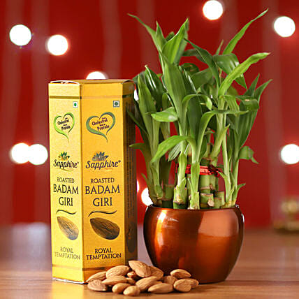 Online Bamboo Brass Pot And Almonds