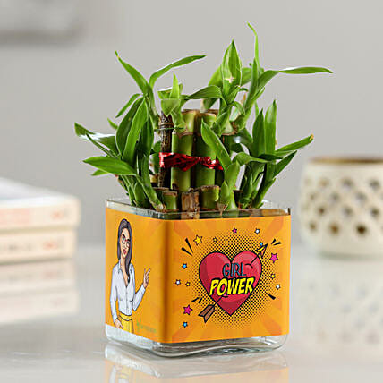 2 Layer Bamboo In Girl Power Printed Vase