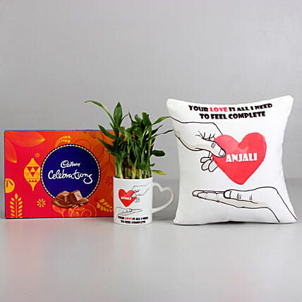 Chocolate, Cushion and Plant For Valentine Online