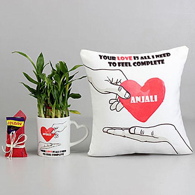 Custom Plant Mug with Chocolate, Cushion Valentine