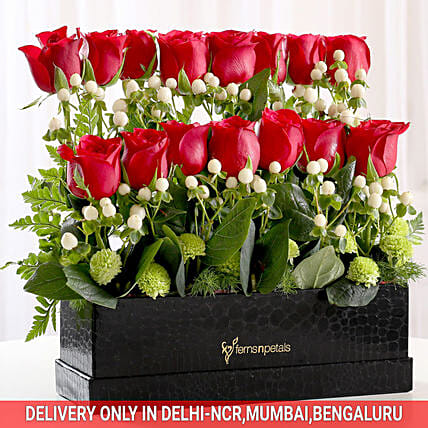 rose celebration in black box:Birthday Flowers for Wife