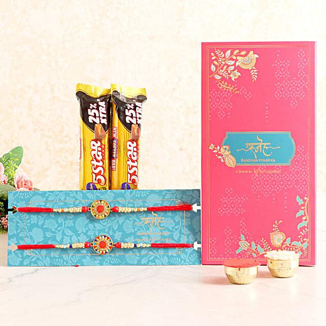 2 Meenakari Rakhis & Chocolates Combo