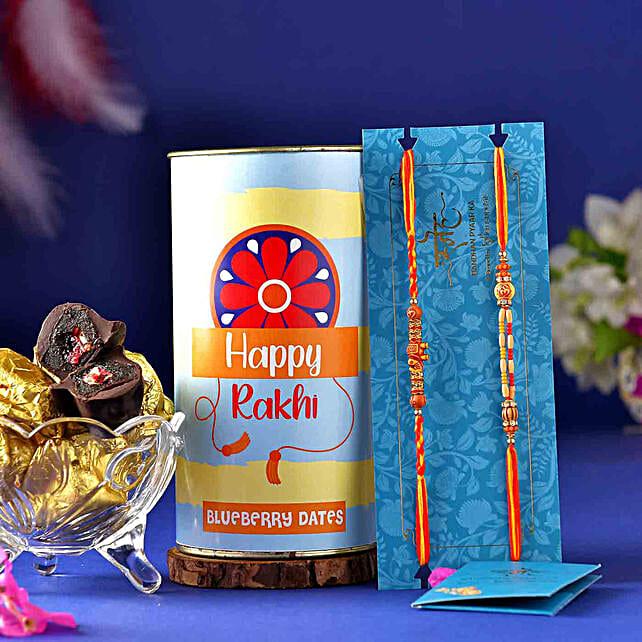 2 Wooden Beads Om Rakhis N Blueberry Dates