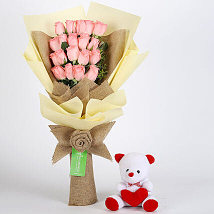 Multi Layered Pink Roses Bouquet and Teddy Combo