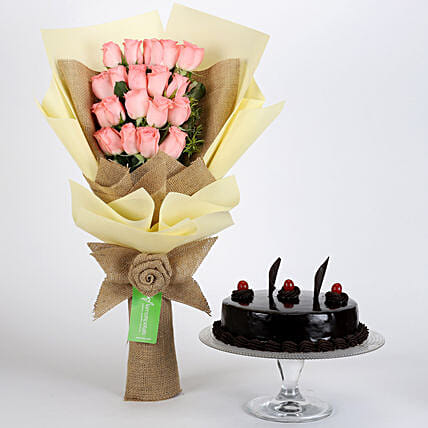 Multi Layered Pink Roses Bouquet and Cake Online