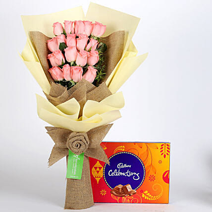 Multi Layered Pink Roses Bouquet with Chocolate Online:Chocolate Combos For Mothers Day