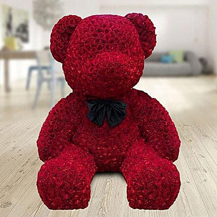 5 feet teddy bear made with red roses:Valentines Day Premium Gifts
