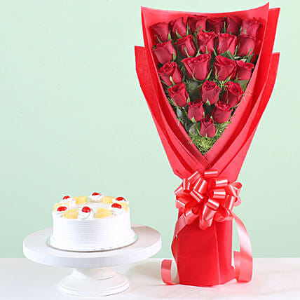 21 Red Roses Bouquet & Pineapple Cake Combo