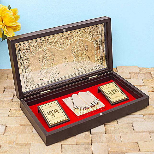 24 Carat Gold Foil Lakshmi Ganesha Pooja Box