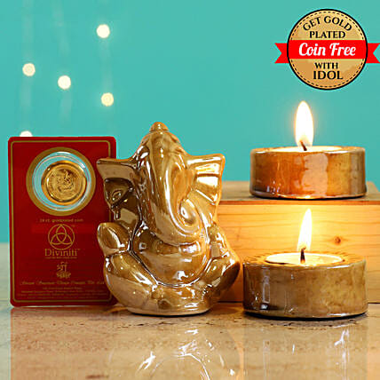 24 Carat Gold Plated Coin Free With Beige Ganesha Idol Diwali Hamper:Laxmi Ganesh Idol