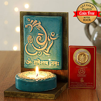 24 Carat Gold Plated Coin Free With Elegant Ganesha Tealight Holder:Laxmi Ganesh Idol
