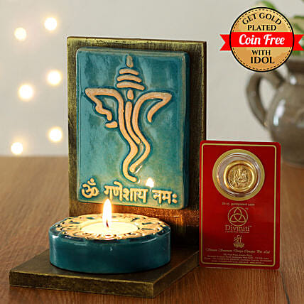 24 Carat Gold Plated Coin Free With Face Of Ganesha Tealight Holder