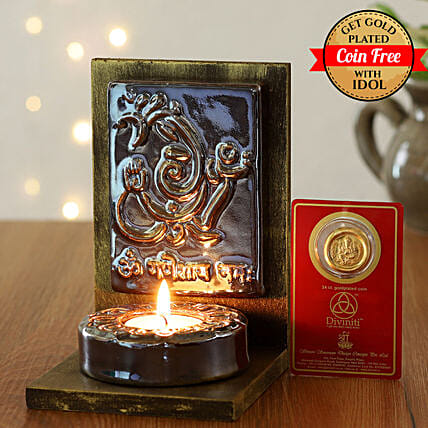 24 Carat Gold Plated Coin Free With Ganesha Tealight Holder Brown:Ganesh and Lakshmi Idols