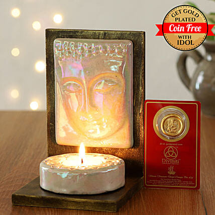 24 Carat Gold Plated Coin Free With Lord Buddha Tealight Holder:Ganesh and Lakshmi Idols