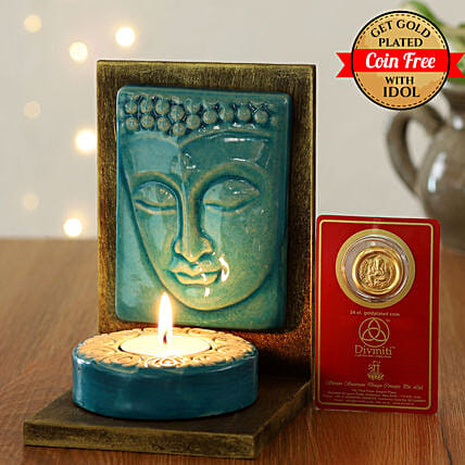 24 Carat Gold Plated Coin Free With Peaceful Buddha Tealight Holder:Send Diwali Diyas