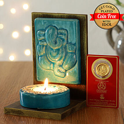 24 Carat Gold Plated Coin Free With Sitting Ganesha Tealight holder:Laxmi Ganesh Idol