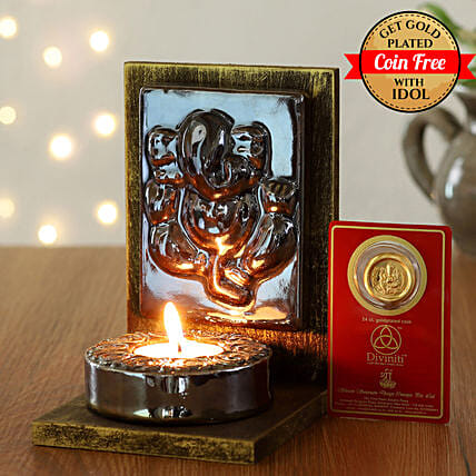 25 Carat Gold Plated Coin Free With Brown Ganesha Tealight Holder