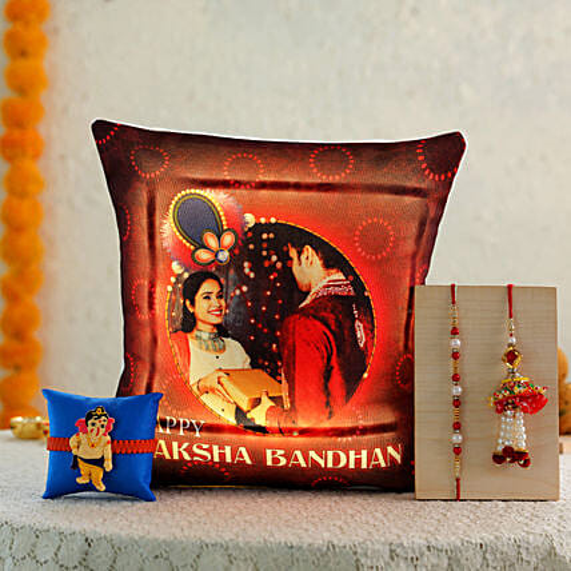 best 3 rakhis set with photo cushion online