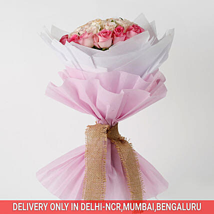 pink roses celebration in attractive bouquet