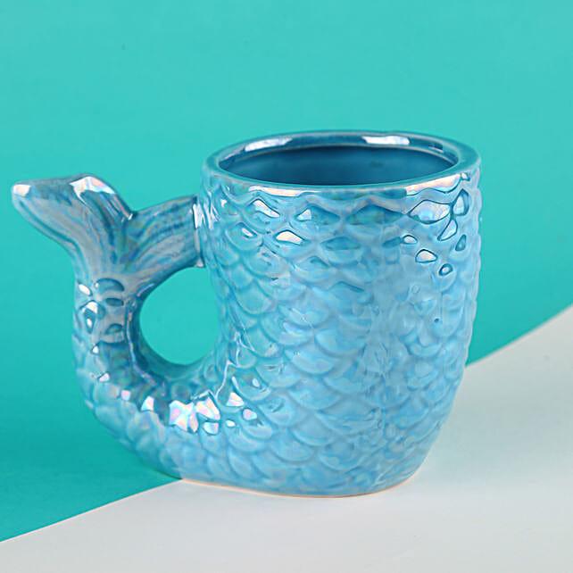 3D Mermaid Themed Ceramic Aqua Blue Mug:Unusual Mugs