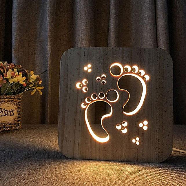 3D Wooden LED Night Light Lamp Feet