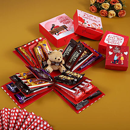 4 Layer Red And White Chocoholic Explosion Box:Soft toys for Propose Day