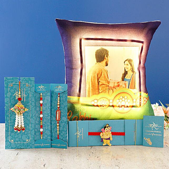 4 rakhis with personalised led cushion