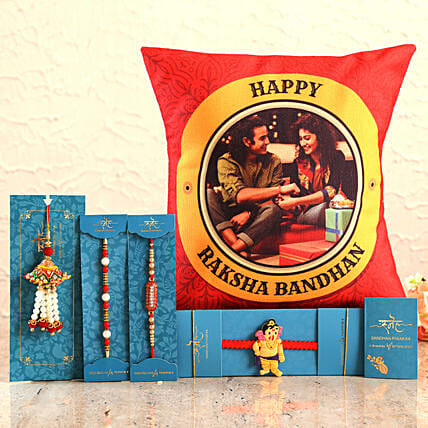 Send 4 Rakhis & Personalised Cushion