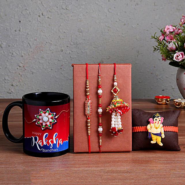 Online 4 Rakhis & Printed Black Mug