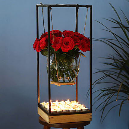 red roses in fishbowl with iron stand online