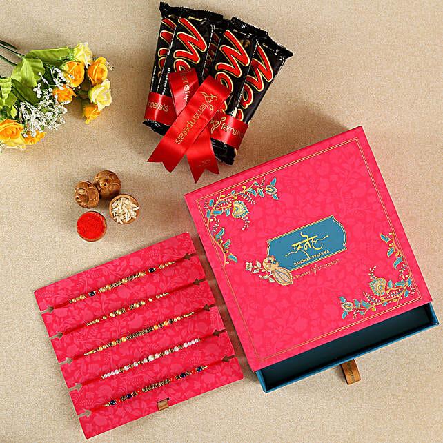 5 Beads & Pearls Rakhis With Chocolates:Set of 5 Rakhi