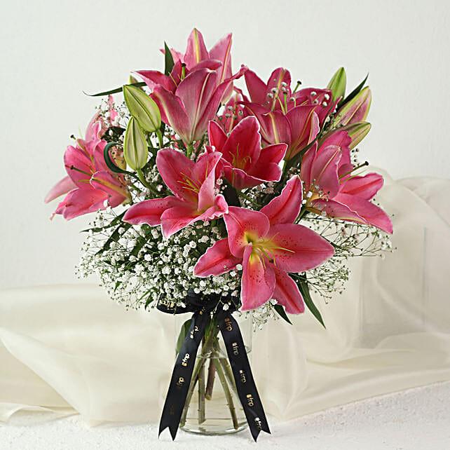 5 Pink Oriental Lilies Online:Order Lilies